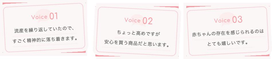 Voice01 流産を繰り返していたので、すごく精神的に落ち着きます。| Voice02 ちょっと高めですが安心を買う商品だと思います。 | Voice03 赤ちゃんの存在を感じられるのはとても嬉しいです。